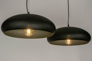 pendant light 73283 rustic modern metal black matt round
