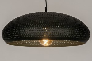 pendant light 73284 industrial look rustic modern metal black matt round