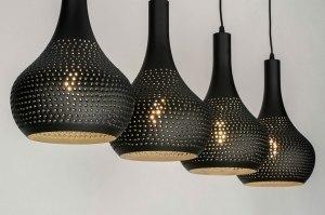 hanglamp 73285 landelijk rustiek modern metaal zwart mat rond langwerpig