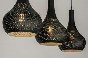 hanglamp 73286 landelijk rustiek modern metaal zwart mat rond