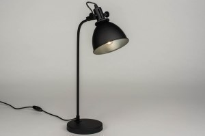 table lamp 73287 industrial look modern retro metal black matt round