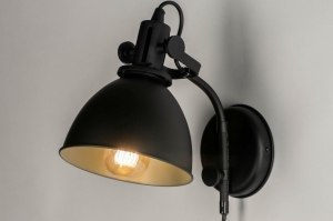 Aplique de pared 73288 Aspecto industrial Rural rustico Moderno Metal Negro Mate Redonda