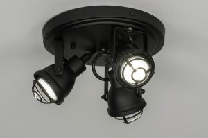 spotlight 73290 industrial look rustic modern metal black matt round