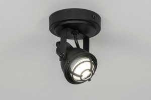 spotlight 73292 industrial look rustic modern metal black matt round