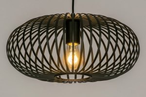 pendant light 73294 modern retro metal black matt round