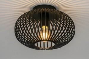 ceiling lamp 73295 modern retro metal black matt round