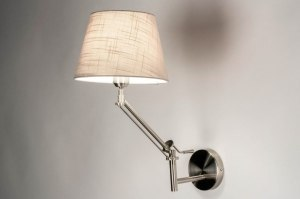 wall lamp 73309 rustic modern contemporary classical stainless steel fabric metal steel gray taupe colored round