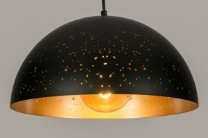 pendant light 73313 modern metal black matt gold round