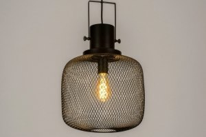 pendant light 73314 industrial look modern raw metal black matt round