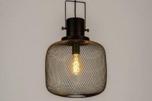 hanglamp 73314 industrie look modern stoer raw metaal zwart mat rond