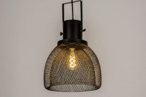 pendant light 73315 industrial look modern metal black matt round