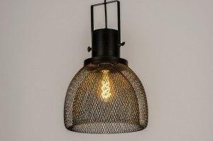 hanglamp 73315 industrie look modern metaal zwart mat rond
