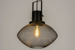 pendant light 73316 industrial look modern metal black matt round