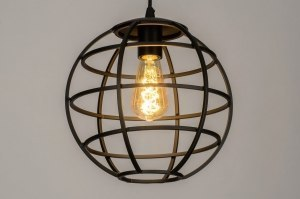 pendant light 73320 industrial look modern metal black matt round