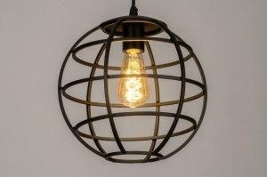 hanglamp 73320 industrie look modern metaal zwart mat rond