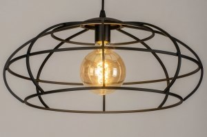 pendant light 73321 industrial look modern metal black matt round