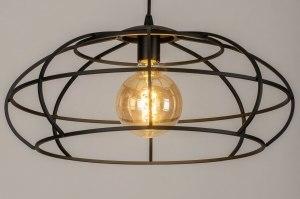 hanglamp 73321 industrie look modern metaal zwart mat rond