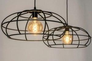 hanglamp 73322 industrie look landelijk rustiek modern metaal zwart mat rond
