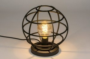 table lamp 73323 industrial look modern metal black matt round