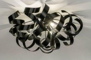 plafondlamp 73337 modern aluminium geschuurd aluminium metaal zwart mat rond