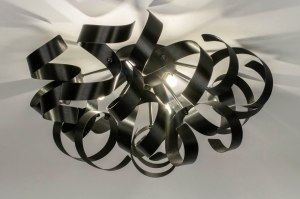 ceiling lamp 73337 modern aluminium sanded aluminium metal black matt round