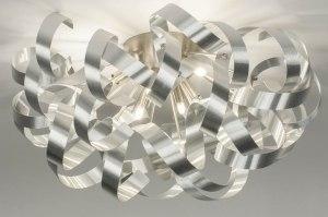 plafondlamp 73338 modern aluminium geschuurd aluminium metaal aluminium rond