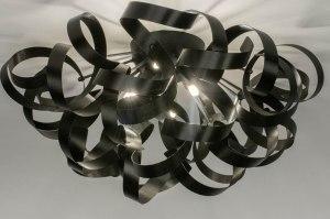 plafondlamp 73339 modern aluminium geschuurd aluminium metaal zwart mat rond
