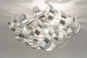 plafondlamp 73340 modern aluminium geschuurd aluminium metaal aluminium rond