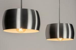 hanglamp 73344 design modern geschuurd aluminium metaal grijs aluminium rond langwerpig