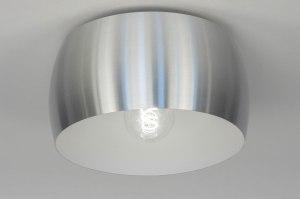 plafonnier 73346 design moderne aluminium acier gris aluminium rond