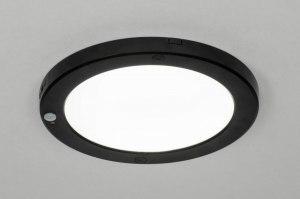 plafondlamp 73351 modern kunststof zwart mat rond