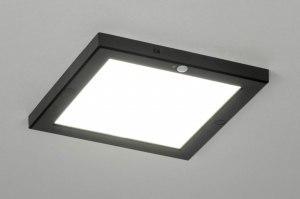 plafondlamp 73353 modern kunststof zwart mat vierkant
