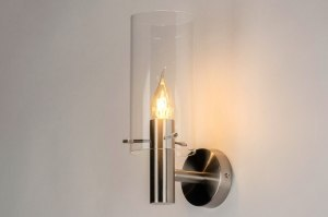 wall lamp 73357 modern glass clear glass stainless steel metal steel gray round