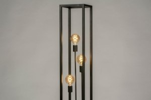 floor lamp 73359 industrial look modern raw metal black matt rectangular