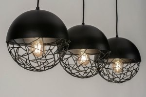 pendant light 73402 modern metal black matt round oblong