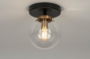 ceiling lamp 73412 modern glass clear glass brass sanded metal black matt matt brass round