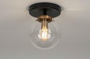 plafondlamp 73412 modern glas helder glas messing geschuurd metaal zwart mat messing rond