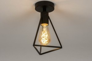 ceiling lamp 73418 industrial look modern metal black matt