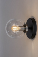 ceiling lamp 73419 modern glass clear glass stainless steel metal black matt steel gray round