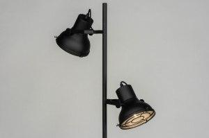 vloerlamp 73425 industrie look modern metaal zwart mat rond