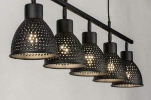 pendant light 73426 rustic modern metal black matt round