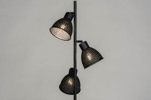 vloerlamp 73427 landelijk rustiek modern metaal zwart mat rond
