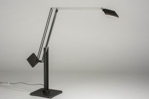 table lamp 73428 designer modern aluminium metal dark gray aluminum square