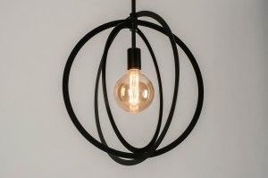 pendant light 73432 modern metal black matt round