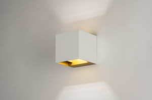 wall lamp 73440 modern aluminium metal white matt gold square