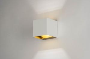 wandlamp 73440 modern aluminium metaal wit mat goud vierkant