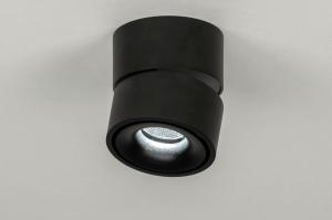 spotlight 73447 modern aluminium metal black matt round