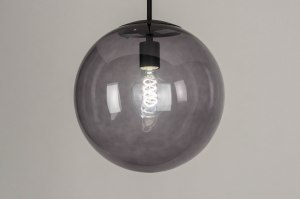 pendant light 73460 modern retro glass metal black matt grey round