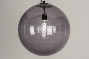 pendant light 73462 sale modern retro glass metal black matt grey round