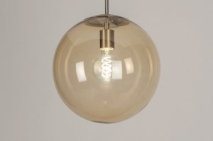 pendant light 73466 modern retro glass soft yellow steel stainless steel metal yellow steel gray round